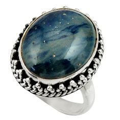 12.28cts natural blue swedish slag 925 silver solitaire ring size 7 r28538