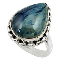 12.36cts natural blue swedish slag 925 silver solitaire ring size 7 r28547