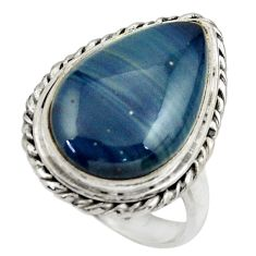 10.87cts natural blue swedish slag 925 silver solitaire ring size 7 r28599