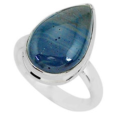 7.92cts natural blue swedish slag 925 silver solitaire ring size 7 r95561