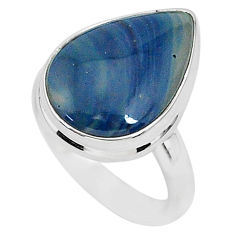 9.96cts natural blue swedish slag 925 silver solitaire ring size 7 r95562