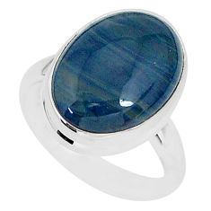 9.16cts natural blue swedish slag 925 silver solitaire ring size 7 r95566