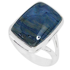 9.25cts natural blue swedish slag 925 silver solitaire ring size 7 r95568