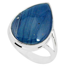 11.71cts natural blue swedish slag 925 silver solitaire ring size 7 r95571