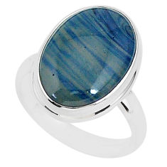 7.50cts natural blue swedish slag 925 silver solitaire ring size 7 r95572