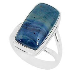 8.35cts natural blue swedish slag 925 silver solitaire ring size 7 r95577