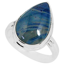 7.97cts natural blue swedish slag 925 silver solitaire ring size 7 r95581