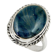 12.77cts natural blue swedish slag 925 silver solitaire ring size 8 r28526