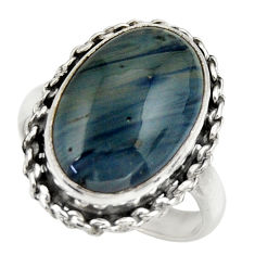 9.90cts natural blue swedish slag 925 silver solitaire ring size 8 r28531