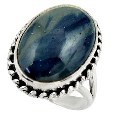 15.91cts natural blue swedish slag 925 silver solitaire ring size 8 r28542