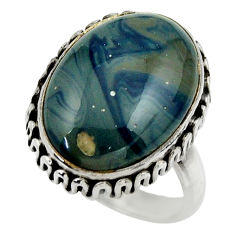 13.59cts natural blue swedish slag 925 silver solitaire ring size 8 r28550
