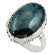 12.26cts natural blue swedish slag 925 silver solitaire ring size 8 r28553
