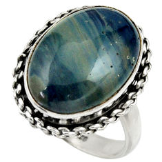 12.38cts natural blue swedish slag 925 silver solitaire ring size 8 r28554