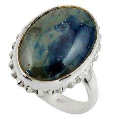 13.31cts natural blue swedish slag 925 silver solitaire ring size 8 r28557