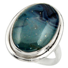 15.23cts natural blue swedish slag 925 silver solitaire ring size 8 r28662
