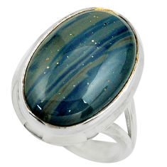 15.54cts natural blue swedish slag 925 silver solitaire ring size 8 r28667