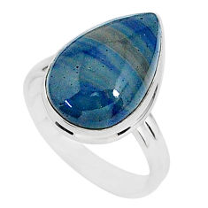 8.91cts natural blue swedish slag 925 silver solitaire ring size 8 r95559