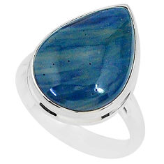 9.99cts natural blue swedish slag 925 silver solitaire ring size 8 r95574