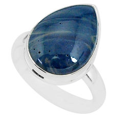 6.80cts natural blue swedish slag 925 silver solitaire ring size 8 r95576