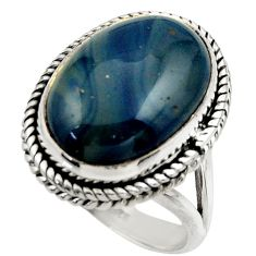 12.61cts natural blue swedish slag 925 silver solitaire ring size 9 r28540