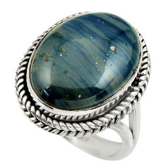 13.28cts natural blue swedish slag 925 silver solitaire ring size 9 r28549