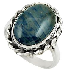 11.09cts natural blue swedish slag 925 silver solitaire ring size 9 r28558