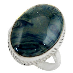 17.41cts natural blue swedish slag 925 silver solitaire ring size 9 r28672