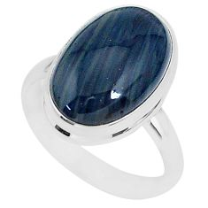 9.79cts natural blue swedish slag 925 silver solitaire ring size 9 r95567
