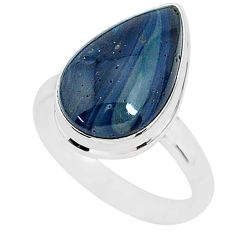 7.81cts natural blue swedish slag 925 silver solitaire ring size 9 r95570