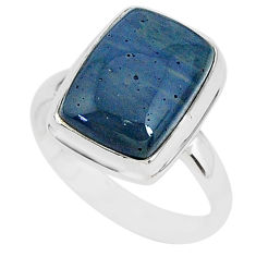 6.85cts natural blue swedish slag 925 silver solitaire ring size 9 r95579