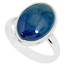 6.32cts natural blue swedish slag 925 silver solitaire ring size 9 r95586