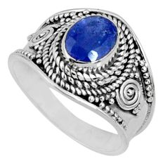 2.13cts natural blue tanzanite 925 silver faceted ring jewelry size 7 r60815