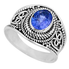2.23cts natural blue tanzanite 925 silver faceted ring jewelry size 7 r60816