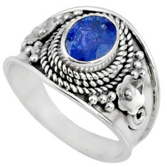 2.11cts natural blue tanzanite 925 silver faceted ring jewelry size 8 r60812