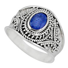 2.11cts natural blue tanzanite 925 silver faceted ring jewelry size 9 r60819