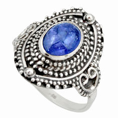 3.41cts natural blue tanzanite 925 silver solitaire ring jewelry size 8.5 d46410