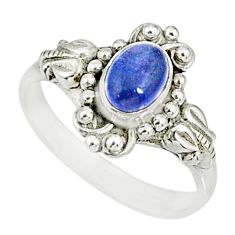 1.45cts natural blue tanzanite 925 silver solitaire ring jewelry size 8.5 r82458
