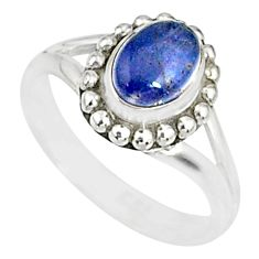 1.43cts natural blue tanzanite 925 silver solitaire handmade ring size 5 r82173