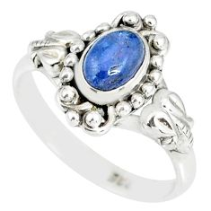 1.48cts natural blue tanzanite 925 silver solitaire handmade ring size 5 r82229