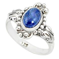 1.47cts natural blue tanzanite 925 silver solitaire handmade ring size 5 r82232