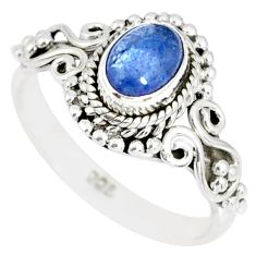 1.46cts natural blue tanzanite 925 silver solitaire ring jewelry size 5 r82374
