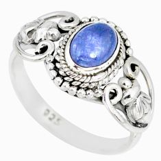1.51cts natural blue tanzanite 925 silver solitaire ring jewelry size 5 r82375