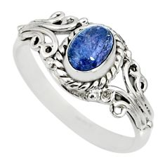 1.51cts natural blue tanzanite 925 silver solitaire handmade ring size 5 r82443