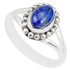 1.49cts natural blue tanzanite 925 silver solitaire handmade ring size 6 r82198