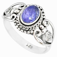 1.55cts natural blue tanzanite 925 silver solitaire handmade ring size 6 r82223
