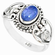 1.51cts natural blue tanzanite 925 silver solitaire handmade ring size 6 r82231