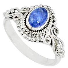 1.54cts natural blue tanzanite 925 silver solitaire ring jewelry size 6 r82377