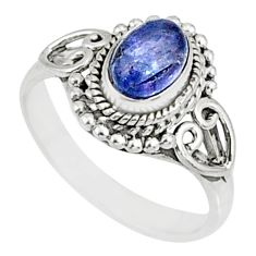 1.47cts natural blue tanzanite 925 silver solitaire handmade ring size 6 r82454