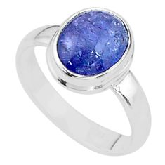 4.19cts natural blue tanzanite 925 silver solitaire ring jewelry size 6 t13003
