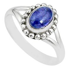 1.45cts natural blue tanzanite 925 silver solitaire handmade ring size 7 r82170